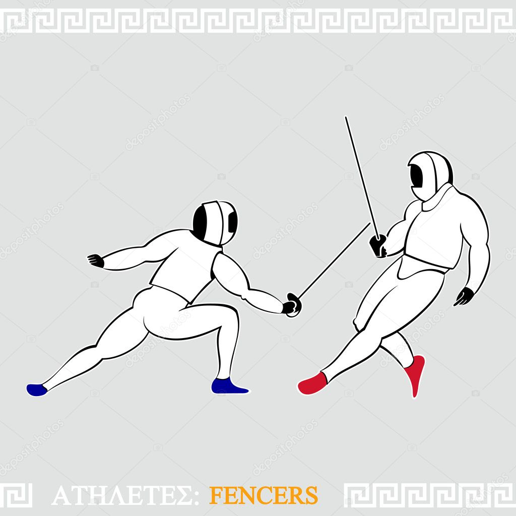 Greek art stylized fencers in protection uniform — Stock Vector #10113903