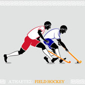 Athlete Field hockey players — Stock Vector