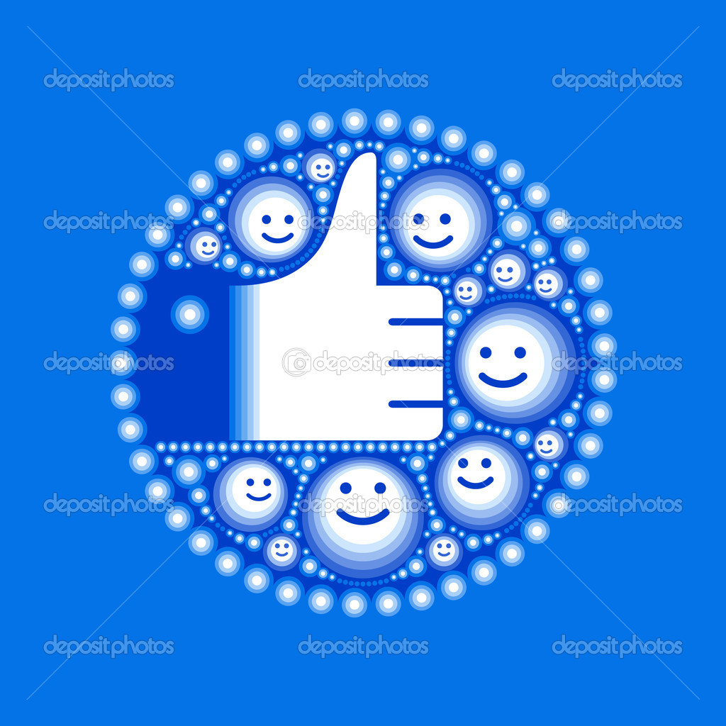 Hand with happy smiley faces and circles in blue — Stock Vector #10233144