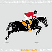 Athlete equestrian — Stock Vector