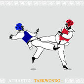 Athlete Taekwondo fighters — Stock Vector