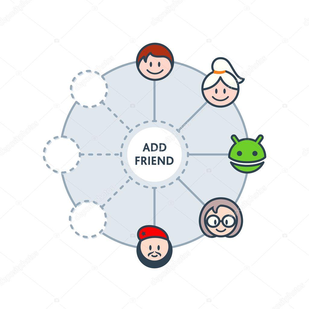 Friends circle — Stock Vector © sahuad #9198888