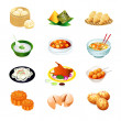 Stock Vector: Chinese food icons