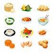 Çin yemeği simgeler — Stok Vektör