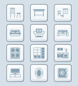 Home furniture icons | TECH series — Stock Vector