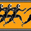 Stock Vector: Greek runners