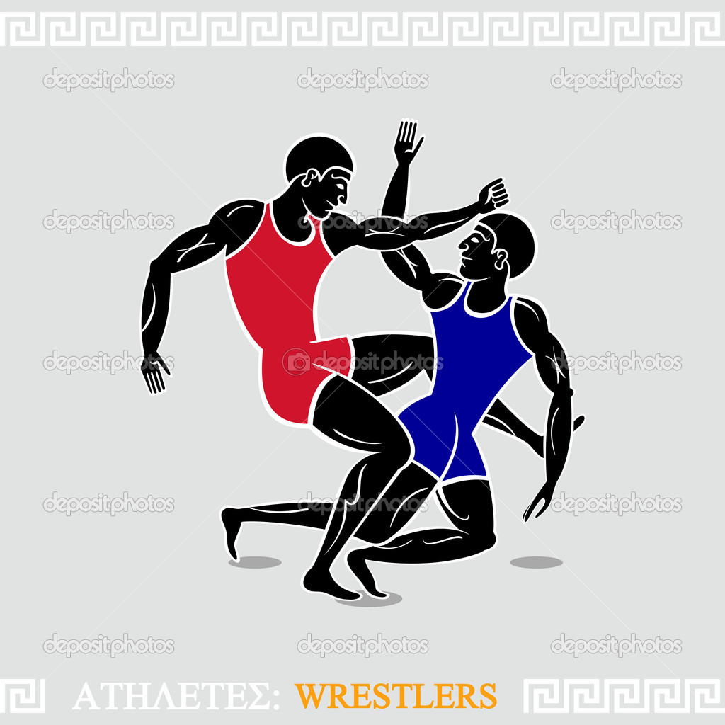 希腊艺术风格化自由式摔跤运动员 — 矢量图片作者 sahuad