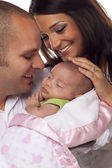 Mixed Race Young Couple with Newborn Baby — Stock Photo