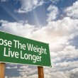 Lose The Weight Live Longer Green Road Sign - Stock Photo