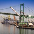 San Pedro Ship Yard and Bridge - Stock Photo