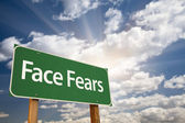 Face Fears Green Road Sign and Clouds — Stock Photo