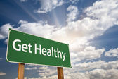 Get Healthy Green Road Sign and Clouds — Foto de Stock