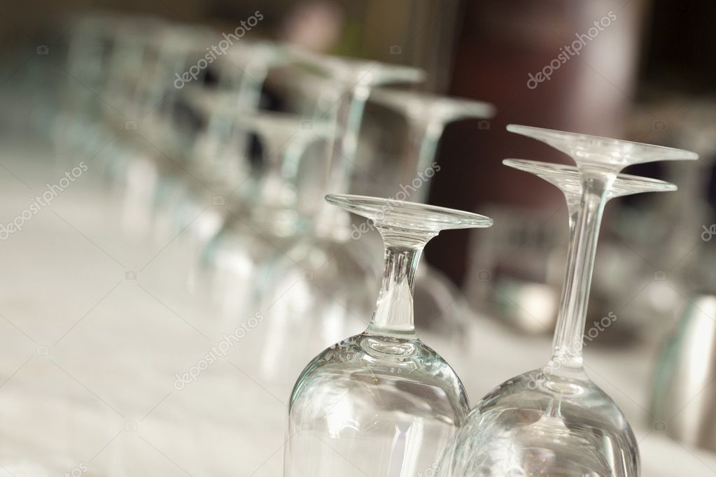 Several Drinking Glasses Abstract in Formal Dining Room Setting. — Stock Photo #10563139