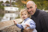 Handsome Father and Son in the Park — Stock Photo
