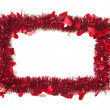 Red Tinsel with Hearts Border Frame — Zdjęcie stockowe
