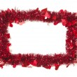 Red Tinsel with Hearts Border Frame — Stock Photo