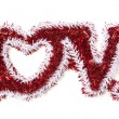 The Word Love Shaped White and Red Tinsel — Stock Photo