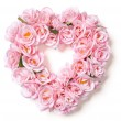 Heart Shaped Pink Rose Arrangement on White — 图库照片