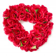 Heart Shaped Red Rose Arrangement on White — Stock Photo