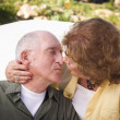 Senior Couple Kissing in the Park — Stock Photo