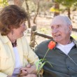 Senior Woman with Man Wearing Oxygen Tubes — Stock Photo