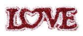 Ordet kärlek formade vita och röda glitter — Stockfoto
