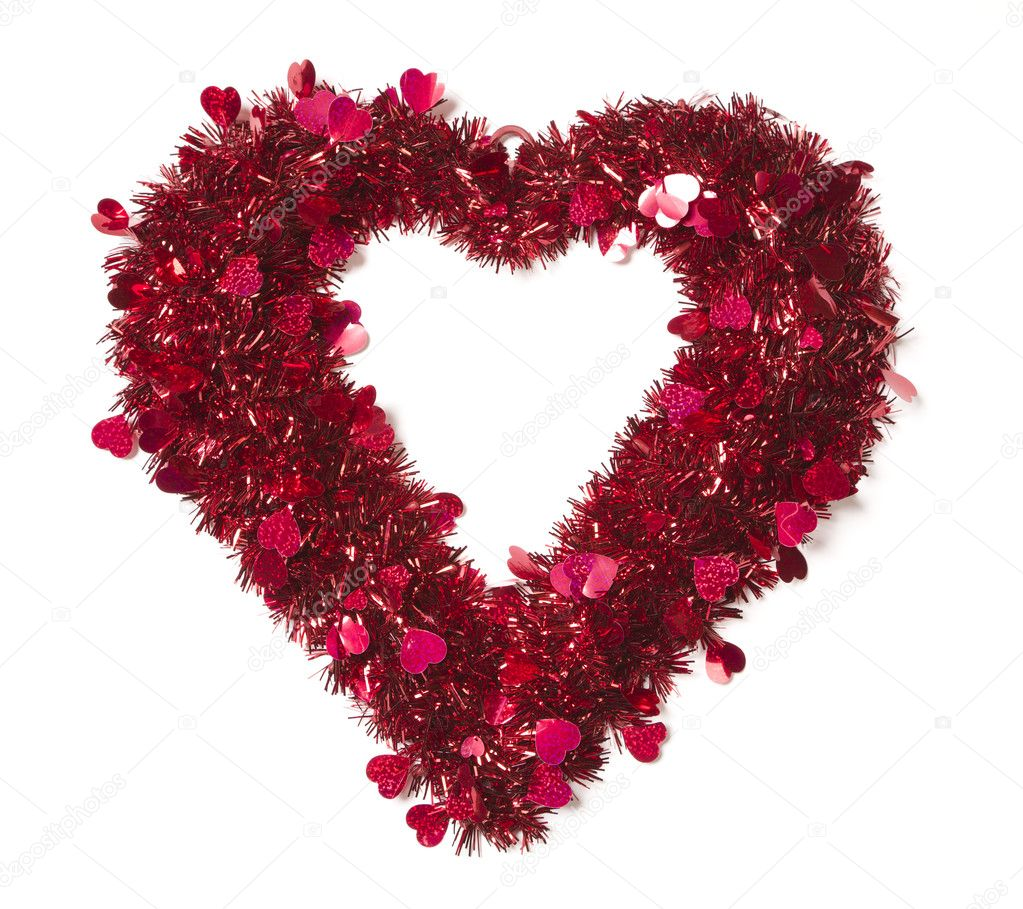 Heart Shaped Shiny Tinsel with Small Hearts on a White Background. — Stock Photo #8962667