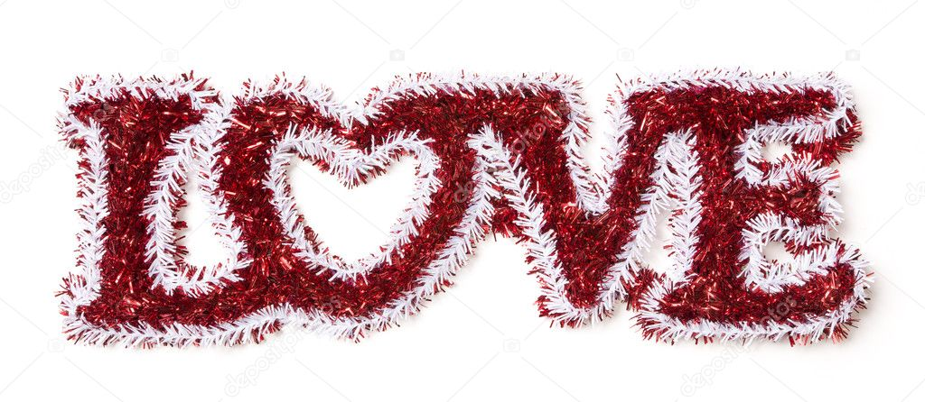 The Word Love Shaped White and Red Tinsel on a White Background. — Stock Photo #8962670