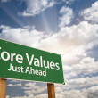 Core Values Just Ahead Green Road Sign and Clouds - Stock Photo