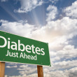 Royalty-Free Stock Photo: Diabetes Just Ahead Green Road Sign and Clouds