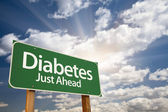 Diabetes Just Ahead Green Road Sign and Clouds — Stock Photo