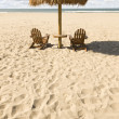 Two Beach Chairs and Umbrella on Beautiful Ocean Sand — Stock Photo