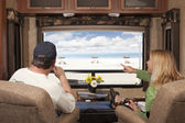 Couple Enjoy Beach View From RV — Stock Photo