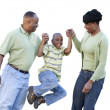 Playful African American Man, Woman and Child Isolated — Stock Photo