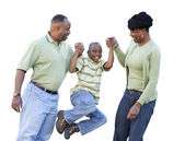 Playful African American Man, Woman and Child Isolated — Stockfoto