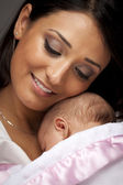 Attractive Ethnic Woman with Her Newborn Baby — Stock Photo