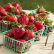 Baskets of Fresh Strawberries - Stock Photo
