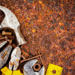 Stock Photo: Tools on rusty background