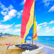 Catamaran in the beach of Varadero, Cuba - Stock Photo