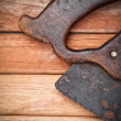 Handsaw over wooden boards - ストック写真