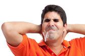 Very stressed hispanic man suffering from neck pain — Stock Photo