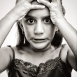 Black and white image of an angry and desperate girl - Foto Stock