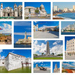 Collage with landmarks and typical architecture of Havana — Stock Photo