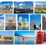 Collage of iconic London landmarks and symbols — Stock Photo
