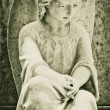 Vintage image of a beautiful angel on a cemetery — Stock Photo