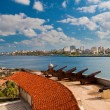 Stock Photo: Old colonial cannons facing city of Havana