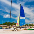 Boats in the beautiful beach of Varadero in Cuba - Stock Photo