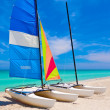 Sailing boats in the cuban beach of Varadero — Stock Photo