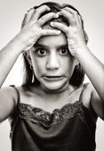 Black and white image of an angry and desperate girl — Stockfoto