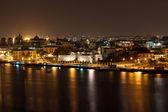 Havana velha, iluminado à noite — Foto Stock